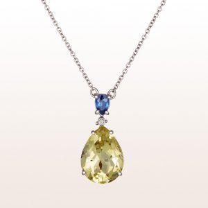 Collier mit Saphir 0,50ct, Brillant 0,02ct und Citrintropfen in 18kt Weißgold