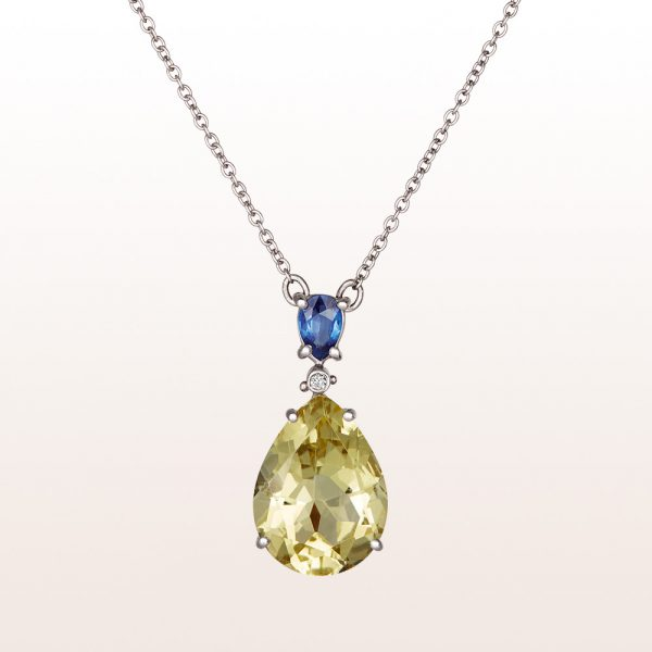 Necklace with sapphire 0,50ct, brilliant cut diamonds 0,02ct and citrine-drops in 18kt white gold