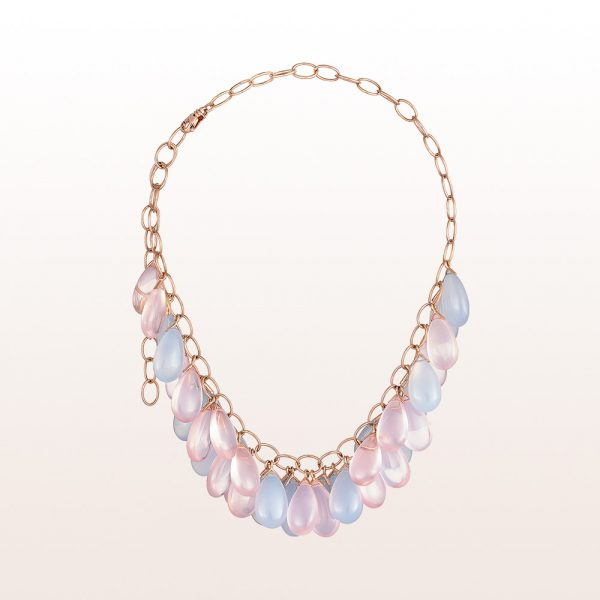 Necklace with rose quartz and chalcedony in 18kt rose gold