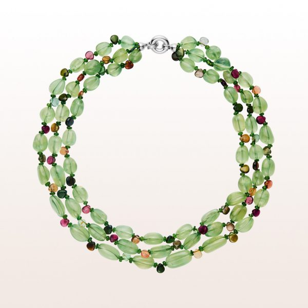 Necklace with prehnite, diopside, multi coloured tourmaline and an 18kt white gold clasp