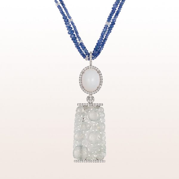 Pendant with white opal, white jade and brilliant cut diamonds on a collier with sapphire and labradorite in 18kt white gold