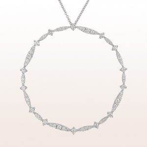 Necklace with brilliant cut diamonds 2,82ct in 18kt white gold
