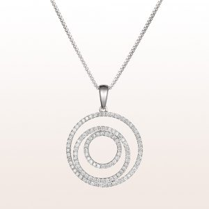 Necklace with brilliant cut diamonds 0,63ct in 18kt white gold
