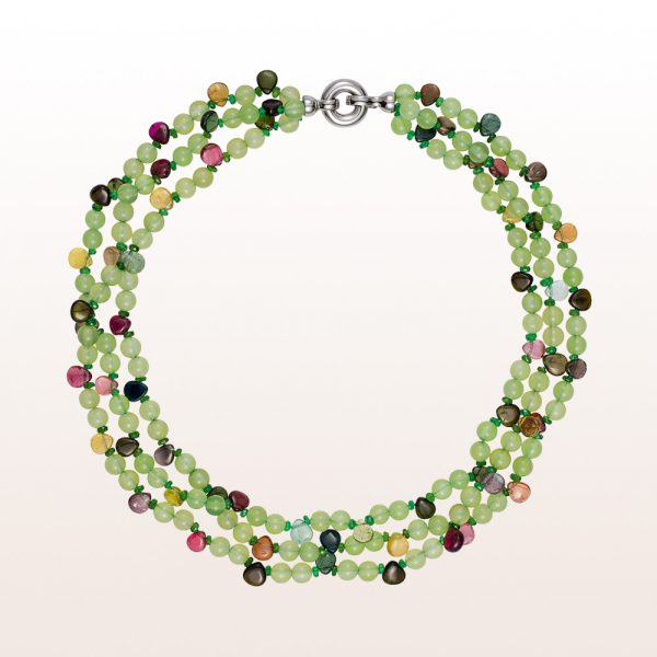 Necklace with prehnite, diopside, multi-coloured tourmaline and an 18kt white gold clasp