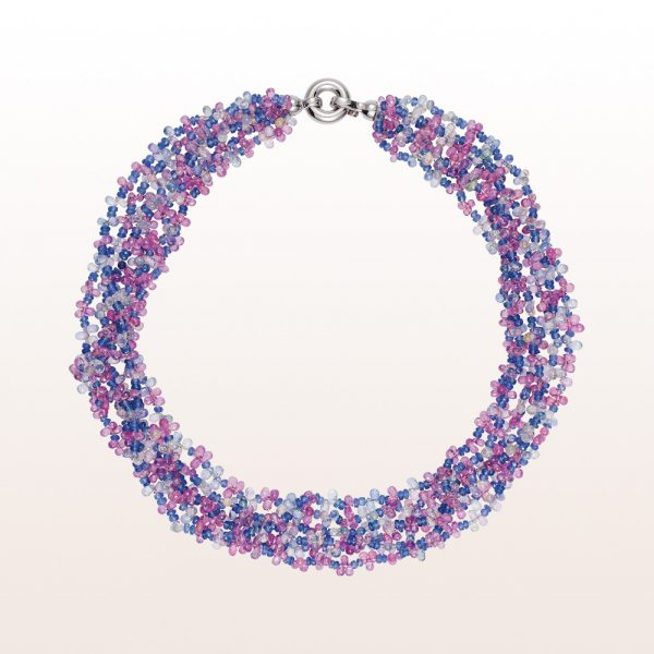 Necklace with blue and pink sapphire and an 18kt white gold clasp