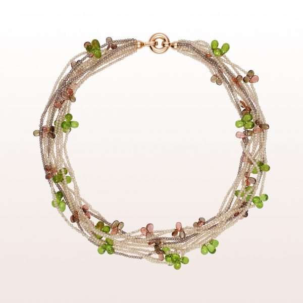 Necklace with brown zircon, brown garnet, andalusite, peridot and an 18kt rose gold clasp