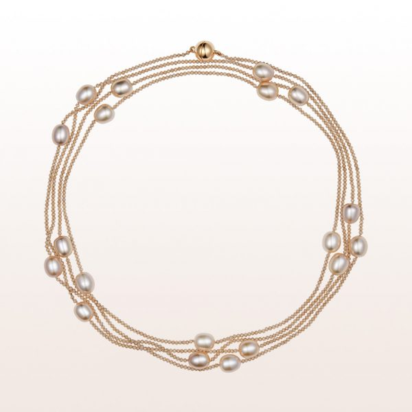 Necklace with brown zircon, fresh water pearl and an 18kt rose gold magnetic clasp