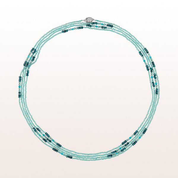 Necklace with topaz, blue zircon, turquoise and an 18kt white gold brilliant clasp