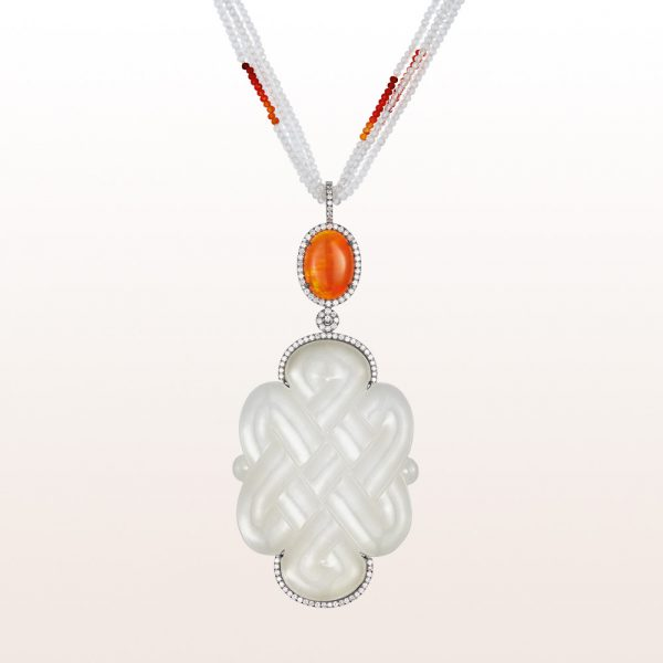 Pendant with white jade, fire opal 5,57ct and brilliant cut diamonds 1,18ct on a necklace with white topaz, fire opal and an 18kt white gold clasp