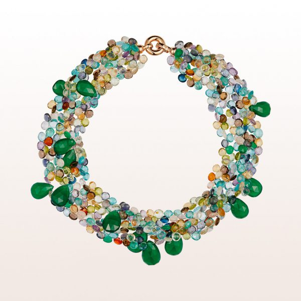 Necklace with multi-coloured quartz, green agate and an 18kt rose gold clasp