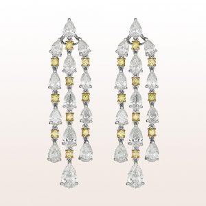 Ohrgehänge mit gelben und weißen Diamanten 11,59ct in Platin