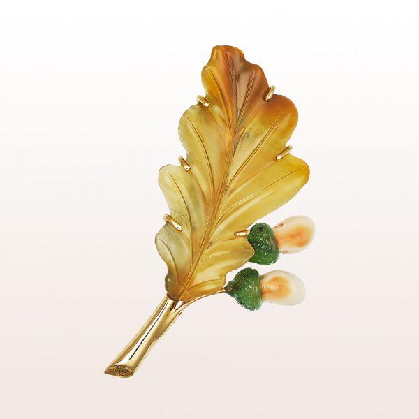 """Brosche """"Blatt"""" mit Karneol, Jade und Grandln in 14kt Gelbgold"""