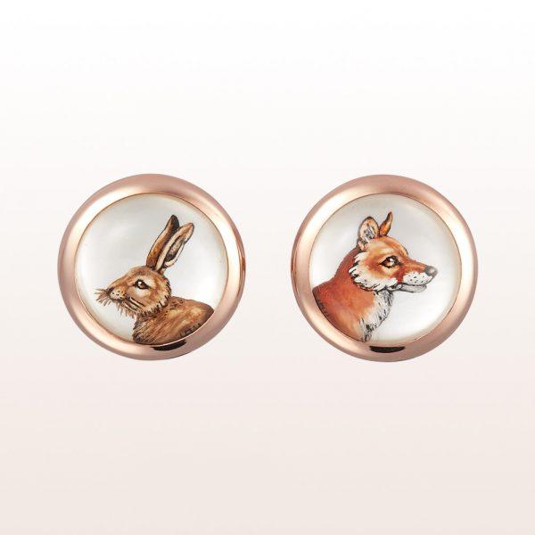 Manschettenknöpfe mit Tiermotiven (Hase, Fuchs) aus Bergkristall und Perlmutt in 18kt Roségold