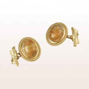 Cufflinks with rutilated quartz cabochons in 14kt yellow gold