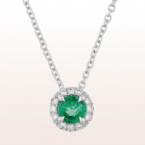 Necklace with emerald 0,21ct and brilliant cut diamonds 0,07ct in 18kt white gold