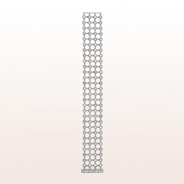 Bracelet with brilliant cut diamonds 14,24ct in platinum