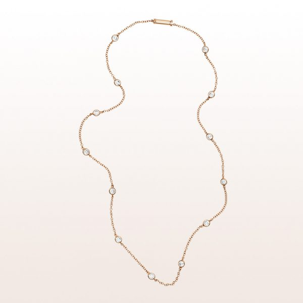 Necklace with brilliant cut diamonds 0,97ct in 18kt rose gold