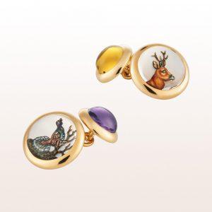 Manschettenknöpfe mit Wildmotiven (Auerhahn, Reh) aus Bergkristall, Perlmutt, Amethyst und Citrin Cabouchon in 18kt Gelbgold