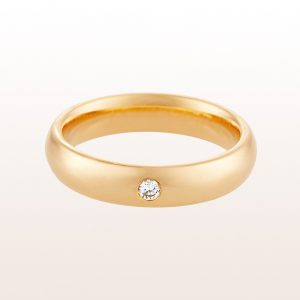 Ehering mit Brillant 0,04ct in 18kt Gelbgold