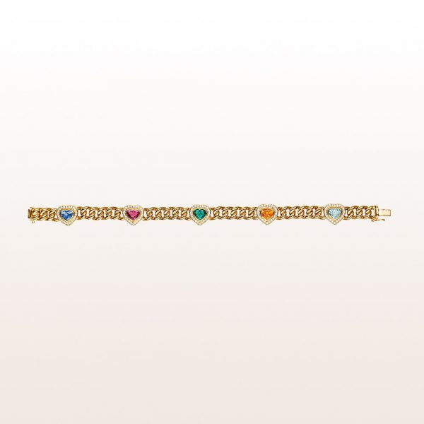 Curb chain bracelet with pink and blue hearts in sapphire, emerald, aquamarine and citrine with brilliant cut diamonds in 18kt yellow gold