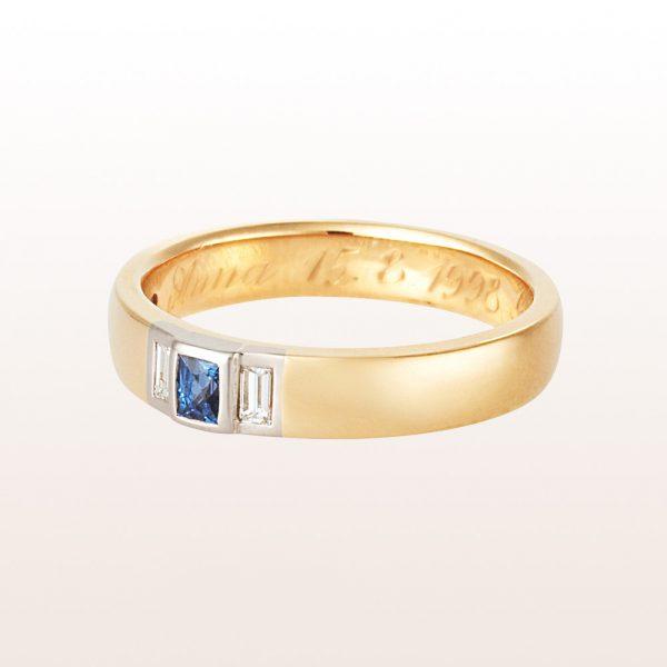 Ring mit Saphir Carré 0,28ct und Baguette-Diamanten 0,18ct in 18kt Gelbgold