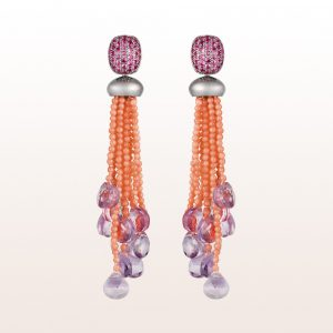 Ohrgehänge mit rosa Saphir 1,40ct, Koralle und Amethyst in 18kt Weißgold