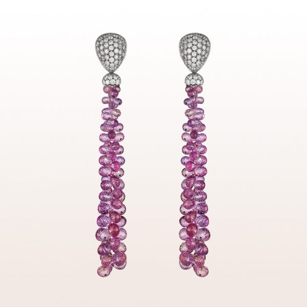 Ohrgehänge mit Brillanten 1,86ct und rosa Saphiren 52,10ct in 18kt Weißgold
