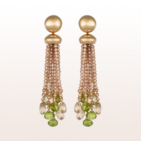 Earrings with brown zircon, smoky quartz and peridot in 18kt rose gold