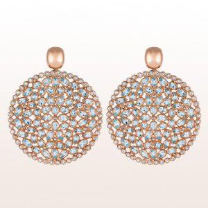 Ohrgehänge mit Topas und Diamanten in 18kt Roségold