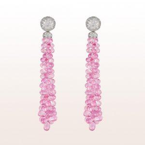 Ohrgehänge mit rosa Saphir 70,75ct und Brillanten 1,44ct in 18kt Weißgold