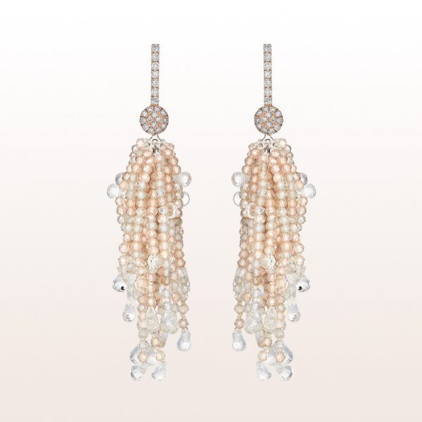 Earrings with brilliants 0,38ct, beige zircon and moonstone in 18kt rose gold