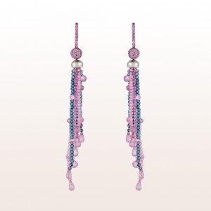 Ohrgehänge mit rosa Saphir, Topas in 18kt Weißgold