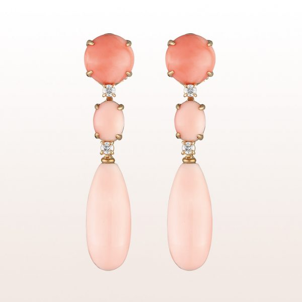 Earrings coral and brilliants 0,32ct in 18kt rose gold