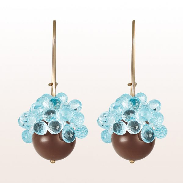 Earrings with brown moonstone and topaz on18kt white gold hooks