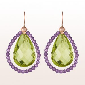 Earrings with green-yellow quartz drops and amethyst on18kt rose gold hooks