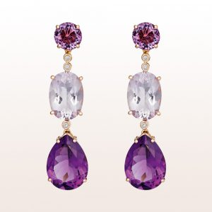 Ohrring with amethyst and brilliants in 18kt rose gold