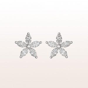 Ohrstecker mit Navette-Diamanten 0,85ct in 18kt Weißgold