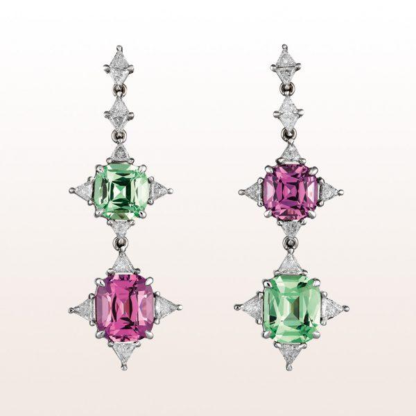 Ohrgehänge mit Tsavoriten 4,82ct, rosa Spinellen 5,90ct und Triangel Diamanten 1,43ct in 18kt Weißgold