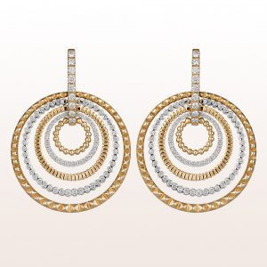 Earrings with brilliants 1,40ct in 18kt yellow- and white gold