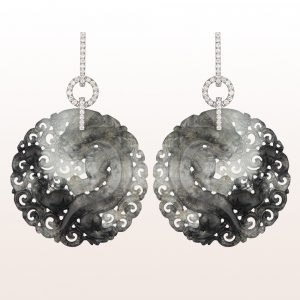 Earrings with grey jade and diamonds 0,87ct in 18kt white gold