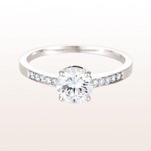 Ring mit einem Brillant 1,00ct und Brillanten 0,09ct in 18kt Weißgold