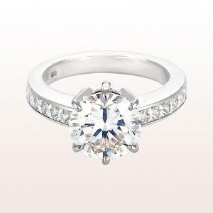 Ring mit einem Brillant 3,14ct und princess cut Diamanten 0,88ct in 18kt Weißgold