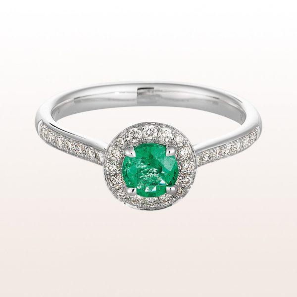 Ring mit Smaragd 0,44ct und Brillanten 0,28ct in 18kt Weißgold