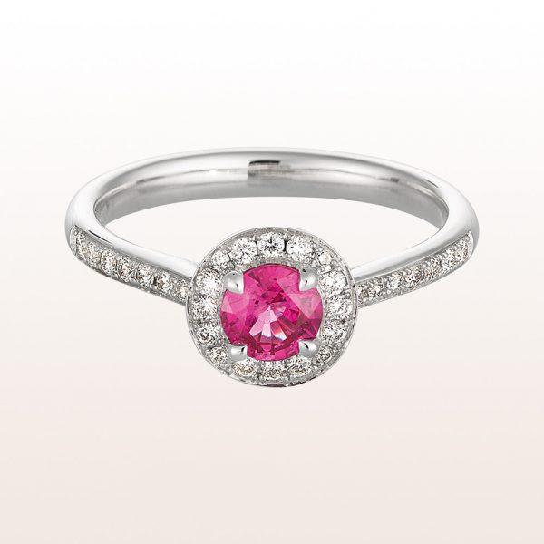 Ring mit rosa Saphir 0,52ct und Brillanten 0,28ct in 18kt Weißgold