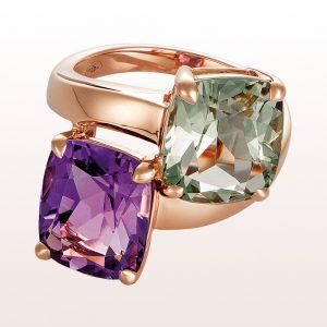 Ring mit Amethyst und grünem Quarz in 18kt Roségold