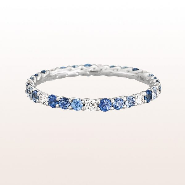 Eternity-ring with sapphire 0,81ct and brilliant cut diamonds 0,20ct in 18kt white gold