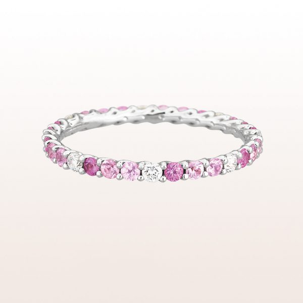 Eternity-ring with pink sapphire 0,77 and brilliant cut diamonds 0,20ct in 18kt white gold