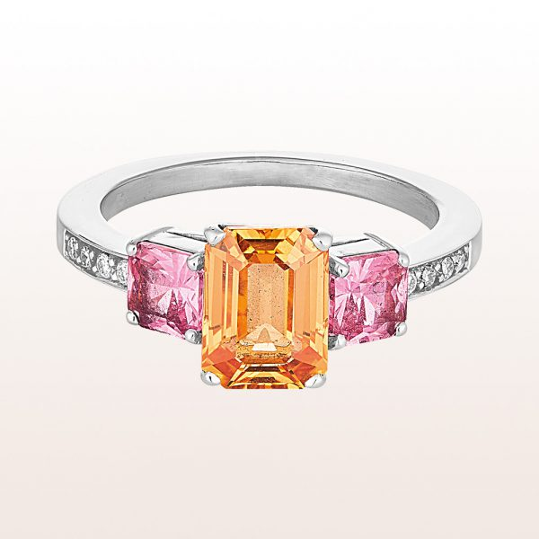 Ring mit orangem Saphir 2,02ct und rosa Saphiren 1,02ct und Brillanten 0,07ct i 18kt Weißgold