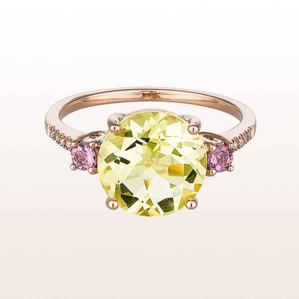 Ring mit Citrin, rosa Turmalin und Brillanten 0,04ct in 18kt Weißgold