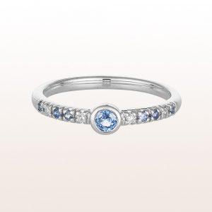 Ring mit Saphiren 0,20ct und Brillanten 0,04ct in 18kt Weißgold